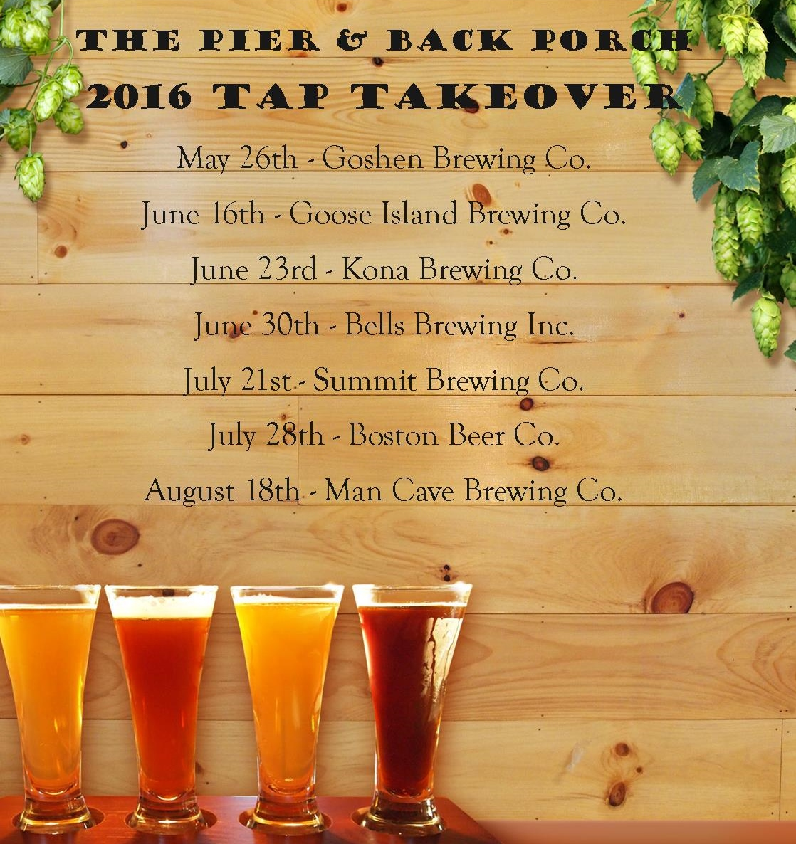 Tap Takeover at Oakwood Resort, on Lake Wawasee in Syracuse, IN